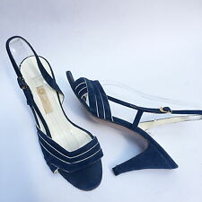 Gucci Open Toe Suede Heels Leather Navy White Chevron Slingback Sandals Sz. 38 7