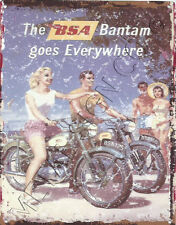 BSA BANTAM MOTOR CYCLE AD METAL WALL SIGN RETRO STYLE12x16in 30x40cm