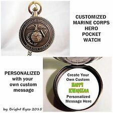 "CUSTOM Personalized USA Marine Corps Military Pocket Watch 31"" Chain OOAK"