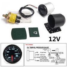 """2""""/52mm 7Color LED 12V Car Oil Press Gauge Oil Pressure Meter With Sensor&Holder"""