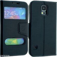 Para Samsung Galaxy S4 I9600 Cuero funda protectora tipo cartera de doble ventana Flip Bolsa
