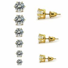 Jewelry Women's Gold Plated Stainless Steel Round Clear Cz Stud Earring 6 Pairs