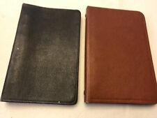Small 6 Ring Binder notebooks 2 Vtg 6 3/8� x 4� each brown vinyl & black leather