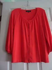 Jones NY Collection Petite Cardigan Scoop Neck LS Coral Sz PL