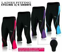 Ladies Cycling Shorts Leggings 3/4 Padded Three Quarter Shorts Women Tights NEW