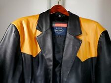 Black leather trenchcoat jacket coat Sz.XL Brown Made in the USA Cowboy Style