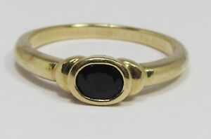 100% Genuine 9k Solid Yellow Gold 0.35ct Black Natural Sapphire Ring Size 6.5 US