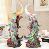 New Resin Decor Peacock  Figurine Statue Sculpture Home Ornament Decorations