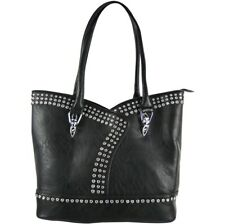 BLACK WESTERN FASHION STUDDED RHINESTONE LOOK SHOULDER HANDBAG CONCEALED CARRY