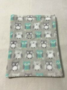 """Parents Choice Owl Baby Blanket Gray Mint White Soft 30"""" x 36"""""""
