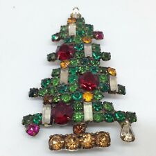 Signed WEISS Vintage CANDLE CHRISTMAS TREE BROOCH PIN Rhinestone Gold Tone