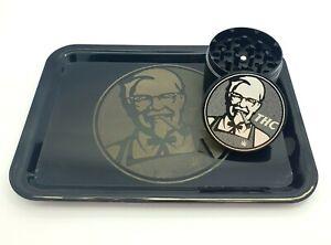 50mm 4 Part Metal Herb Grinder Crusher And Tray Set engraved Design- Black KFC