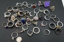 Lot of 49 Rhinestone, Silver-tone Rings TE845
