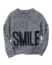 """GAP Baby / Toddler Girls 3T / 3 Years NWT Blue """"SMILE"""" Print Marled Knit Sweater"""