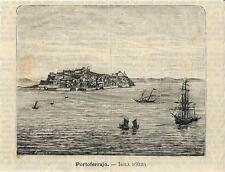 Stampa antica ISOLA d' ELBA Portoferraio panorama 1891 Old antique print