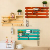 Wall Shelves Display Shelf Mounted Storage Rack Holder Home Decor With 3 Hooks
