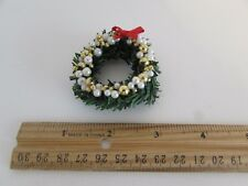 Dollhouse Miniature - Wreath with Red Bow, and White and Gold Balls