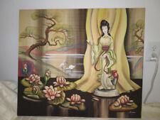 Vintage 1960's DeLoray Watercolor Painting Japanese Geisha Lady