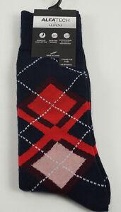 1 Pair of New Alfani Men's 7-12 Blue Red Argyle Seamless Antimicrobial Socks