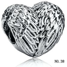 Genuine heart 925 sterling silver charms bead For lot PAN bracelet bangle chains