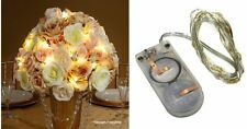 Set of 2 ~ 12 LED Light Silver Wire Submersible 24 Total Warm White Lights