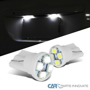 2PC T10 Wedge 194 White LED 4 SMD Side Marker License Plate Light Bulbs