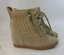 "NEW NUDEGold stud 3"" hidden wedge heel  ankle boot front lace up size 9.5  P"
