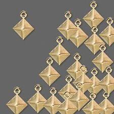 Lot of (100) Gold Plated Brass 11x8mm Diamond Shaped Charms - Drop Beads