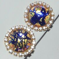 Vintage faux opal dragons breath cabochon prong set rhinestone clip earrings