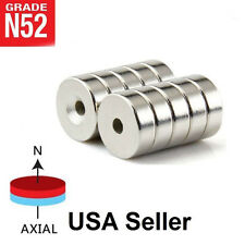 Lot 10 25 50 15mm X 4mm Hole 4mm Ring Disc Rare Earth Neodymium Craft Magnet N52