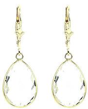 14K Yellow Gold Fancy Cut Pear Shaped Clear Quartz Dangling Earrings