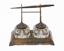 Antique Eastlake Victorian Double Inkwell Desk Stand w. Pen 1877 Green & Copper