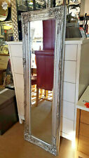 French Ornate Vintage Design Bevelled Wall Mirror 132x42cm Silver Full Length