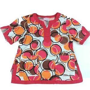 Koi Kathy Peterson Women's Scrub Top Size XL Floral Tori 136 Orange Brown Fall