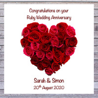 PERSONALISED WEDDING DAY CARDS - 40TH RUBY WEDDING ANNIVERSARY CARDS
