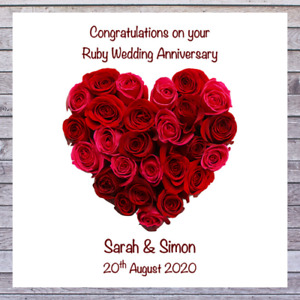 PERSONALISED WEDDING ANNIVERSARY CARDS 40th RUBY