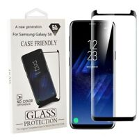 Samsung Galaxy S8 Case Friendly Tempered Glass Screen Protector Black