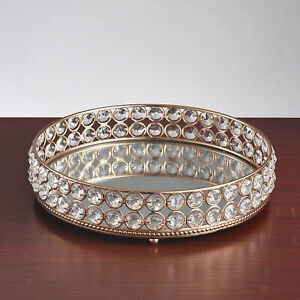 25cm Crystal Tray Candle Tray Mirrored Cosmetic Organizer Box Serving Plate