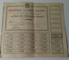 action brasserie union lilloise 50francs 1926 faches thumesnil