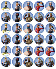 """30x EDIBLE Fortnite Cupcake Toppers Birthday Party Wafer Paper 1.6"""" /4cm (uncut)"""