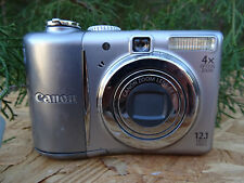 Canon PowerShot A1100 IS 12.1MP Digital Camera - Silver w/ Batteries & USB Cable