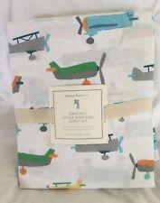 Pottery Barn Kids Organic Asher Airplane Sheet Set Full NWT
