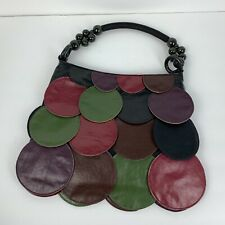 Faux Leather Colorful Bag Purse with Applied Circles Flaps Beaded Handle Boho