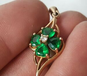 Vintage .375 9ct Gold Pendant Set With Simulated Diamond & Emeralds