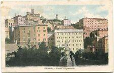 1903 Genova Piazza Acquaverde palazzi case monumento statua FP COL VG