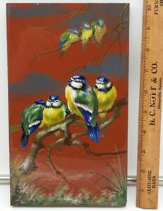"""Antique 19th C Minton Hollins Clay Tile~ Family of Bird's -10 x 6"""" -1 of 2 Tiles"""