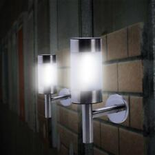 2X Solar Powered LED Wall Light Fence Lamp Outdoor Garden Patio Stainless Steel