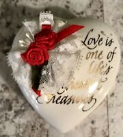 """Vintage """"Love is One Of Life's Greatest Treasures"""" Heart Shaped Trinket Box"""