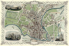 "OLD MAP OF THE CITY OF BATH 1851 BY JOHN TALLIS 30"" x 20"" PHOTOGRAPHIC PRINT"