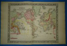 Vintage 1863 WORLD MAP Old Antique Original Atlas Map 41019
